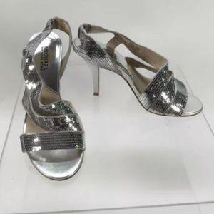 MICHAEL Michael Kors SilverSequins Accent Open Toe